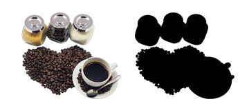 Coffee cup and beans Coffee, isolated. And Black Picture for die-cut Stock Image