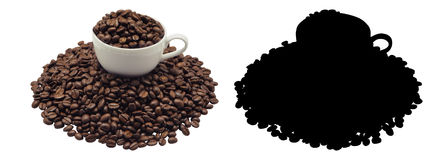 Coffee cup and beans Coffee, isolated. And Black Picture for die-cut Royalty Free Stock Photography