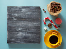 Coffee cup and beans at colorful background Royalty Free Stock Photography