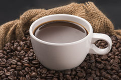 Coffee Cup on Beans Royalty Free Stock Image