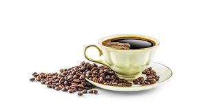 Coffee. Coffee cup and beans isolated on white background Stock Photos
