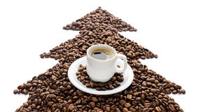 Coffee cup and beans isolated on white background Stock Image