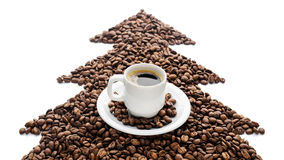 Coffee cup and beans isolated on white background Stock Photography