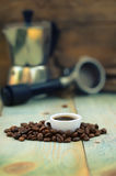 Coffee cup with beans kettle and pot Royalty Free Stock Images
