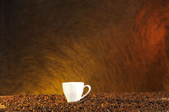 Coffee cup and beans with late summer light Royalty Free Stock Photo