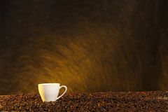 Coffee cup and beans with late summer light Stock Photos