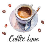 The coffee cup with beans and lettering `Coffee time` isolated on white background, watercolor illustration. In hand-drawn style Royalty Free Illustration