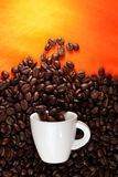 Coffee cup with beans on orange background Stock Photos
