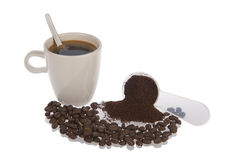 Coffee cup beans and powder Stock Image