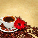 Coffee cup, beans and red flower Royalty Free Stock Photography