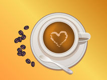 Coffee cup, beans and spoon Stock Photography