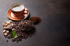 Coffee cup, beans and sugar Stock Images