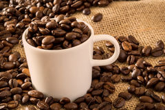 Coffee Cup and Beans 2 Stock Images
