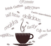 Coffee Cup Beans Text Stock Images