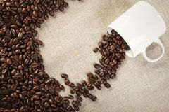 Coffee cup and beans  top view background Royalty Free Stock Images