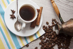 Coffee cup and beans with turk. Royalty Free Stock Photo