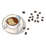 Coffee in cup and beans vector illustration Royalty Free Stock Photo