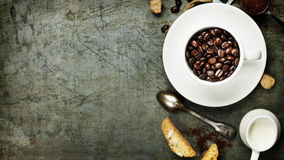Coffee cup with beans Royalty Free Stock Photo