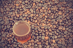 Coffee cup and beans - vintage effect style pictures Royalty Free Stock Image