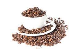 Coffee cup and beans on a white background. Stock Photos