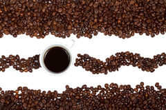 Coffee cup and beans. On a white background Royalty Free Stock Photos