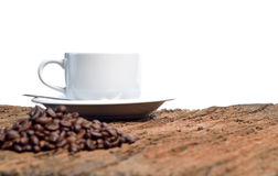 Coffee cup and beans on a white background Stock Photography