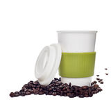 Coffee cup and beans on white background Stock Images