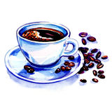 Coffee cup and beans on a white background. stock illustration