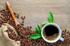 Coffee cup with beans, wood spoon, hemp sack bag and green leaf on wood table Royalty Free Stock Photo