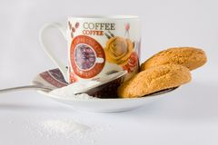 Coffee cup and biscuit Stock Photography