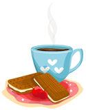 Coffee cup with biscuits royalty free illustration