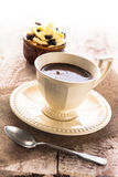 Coffee cup black dessert creamy sweet wooden board Royalty Free Stock Photos