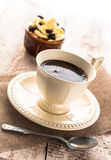 Coffee cup black dessert creamy sweet wooden board Royalty Free Stock Photo