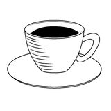 Coffee cup black white drink  illustration Stock Photo