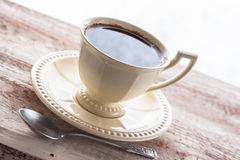 Coffee cup black wooden board brown Stock Images