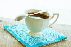 Coffee cup black wooden board brown Stock Image