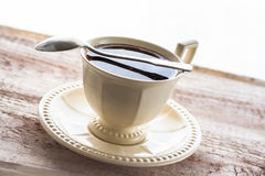 Coffee cup black wooden board brown Stock Photography