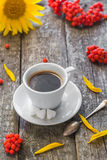 Coffee cup black wooden board brown rowan sunflower white Royalty Free Stock Images