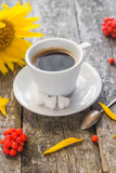 Coffee cup black wooden board brown rowan sunflower white Stock Photo