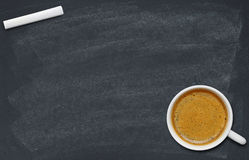 Coffee cup on blackboard Royalty Free Stock Photography