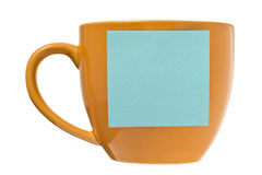 Coffee Cup With Blank Post-it Note Royalty Free Stock Image