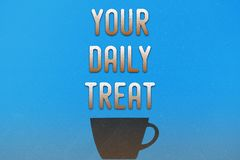 Coffee cup. Blue poster with coffee cup and text on a dirty messy background Royalty Free Stock Image