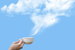 Coffee cup on blue sky Royalty Free Stock Photography