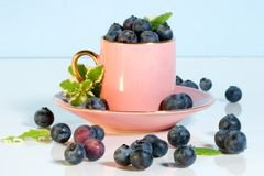 Coffee cup and blueberries Stock Photography