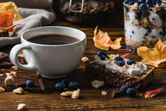 Coffee Cup and Blueberry Toast. Breakfast with Coffee Cup and Blueberry Toast royalty free stock image