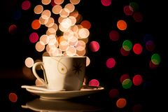 Coffee cup and bokeh stock photo