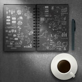 Coffee cup book of  hand drawn business strategy Stock Photos