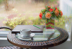 Coffee cup book pencil flowe Stock Image