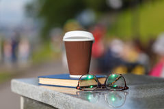 Coffee cup with book Royalty Free Stock Image