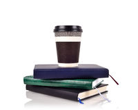 Coffee cup on books Royalty Free Stock Image